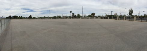 The 100 yard long basketball courts.  WTF?